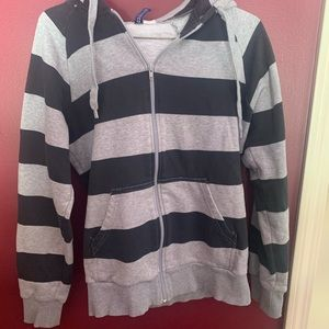Stripped zip up